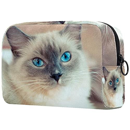 Neceser de Maquillaje para Mujer Bolso Organizador de Kit de Viaje cosmético,muñeca de Trapo Gato siamés Blanco