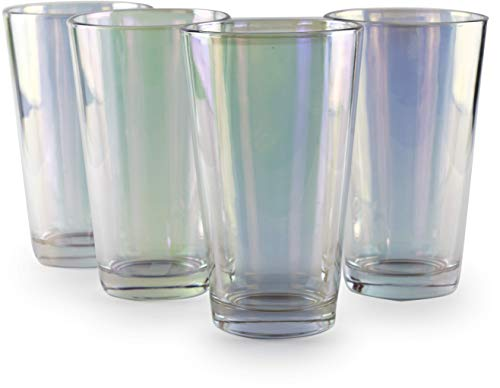 Circleware Radiance Set of 4 Heavy Base Highball Cooler Drinking Glasses Beverage Tumbler 1575 oz Cups for Water Juice Milk Beer Ice Tea and Farmhouse Decor 4pc