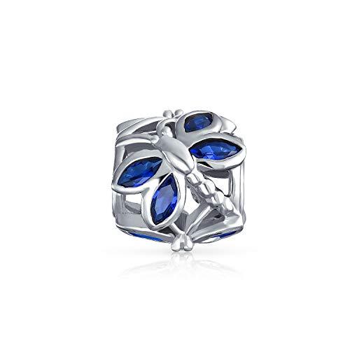 CZ Bleu Libellule Papillon Simulé Perle Sapphire En Argent Bracelet Européen Unique Charms Et Perles Pour Femme