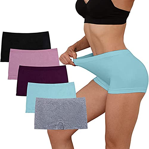 Ewendy 5 Pack Damen Panties 𝐁𝐎𝐗𝐄𝐑𝐒𝐇𝐎𝐑𝐓𝐒 Damen Hipsters Unterhose Hohe Taille Baumwollunterhosen Unterwäsche Set Damen Panty aus anschmiegsamer Baumwolle/Elastan