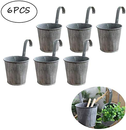 Cratone 6 Pack Flower Pots With Hooks Metal Hanging Flower Planter Retro Gray Fence Flower Pot for Outdoor Balcony Wall Decor Diameter 11 cm (6 Pack)