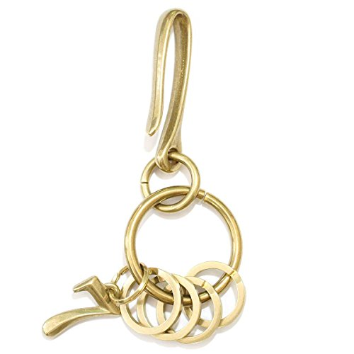 OVER RAG キーホルダー キーリング キーチェーン カラビナ 革 人気 おしゃれ 真鍮プリズンナンバリングホルダー メンズアクセサリー レディースバッグチャーム バッグチャーム アンティーク プレゼント 贈り物 (ナンバー 7)