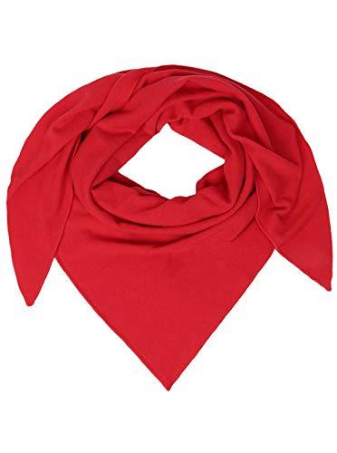 Zwillingsherz Dreieckstuch mit Kaschmir - Hochwertiger Schal im Uni Design für Damen Jungen und Mädchen - XXL Hals-Tuch und Damenschal - Strick-Waren für Sommer und Winter - 150cm x 120cm - rot