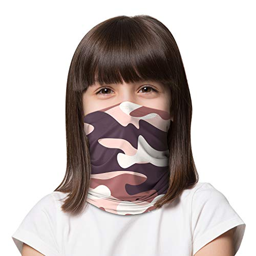 LUNGEAR Neck Gaiter Cooling Kids Bandana UV Sun Protection Scarf Balaclava for Children (Camouflage Brown Black Olive)