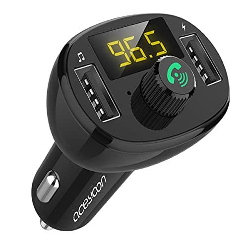 aceyoon Auto FM Transmitter, Bluetooth 5.0 FM Transmitter Adapter 3.4A Schnellladung KFZ FM Audio Radio Adapter Freisprecheinrichtung mit Dual USB Ladegerät LED Anzeige für iOS und Android Geräte