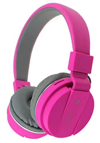 Omniversal Bluetooth Headphones Over Ear,12 Hrs Playtime Wireless Headphones, 3 EQ Modes, Foldable Hi-Fi Stereo Bass Headphones, Soft Memory Earmuffs, Built-in Mic & Wired Mode for TV/PC/Phone (Pink)