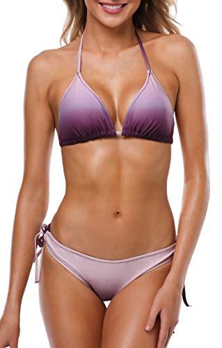 Anwell Damen Triangel Bikini Bikini Damen Set Bikini Push Up Bandeau Lila Klein
