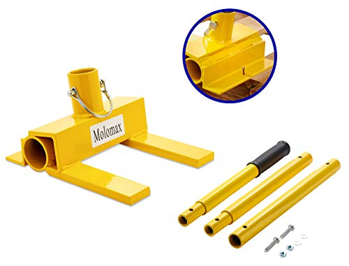 Pallet Buster Deluxe with Nail Removal | Deck Wrecker - Best Wrecking Bar for Breaking Pallets - Steel Head - 2 Secure Locking Pins - Yellow - Molomax