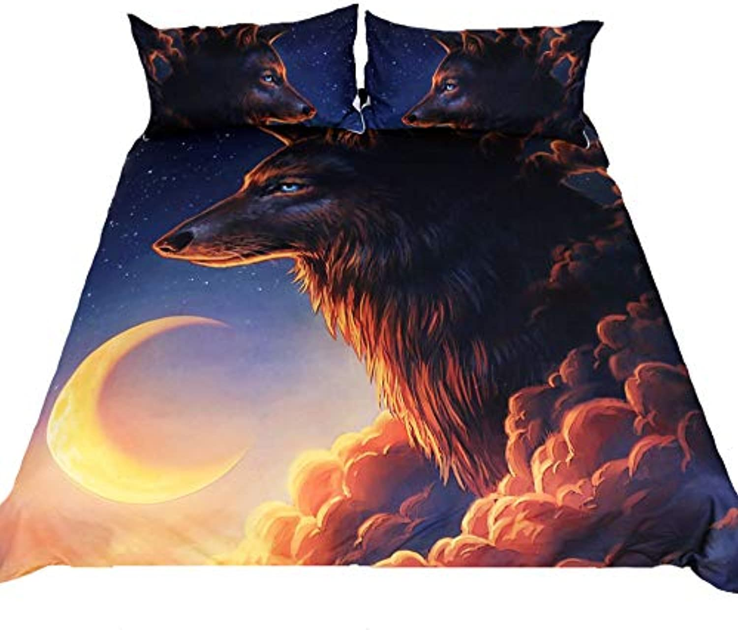 Night Guardian by JoJoesArt 3PC Bedding Sheet Sets,Wolf And The New Moon Duvet Cover Set .Included 1Duvet Cover,2Pillowcase(no Comforter inside) (Queen)