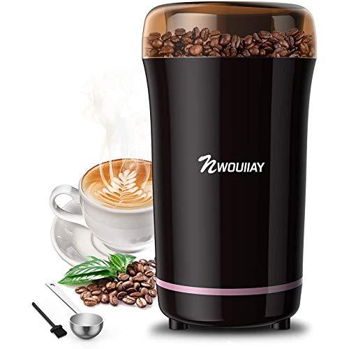 NWOUIIAY Molinillo de Café Eléctrico 300W Molinillos de Especias Semillas Frutos Secos con Cuchillas de Acero Inoxidable y...