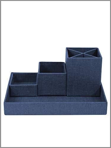 BIGSO BOX OF SWEDEN Schreibtisch Organizer für Stifte, Büroklammern, Haftnotizen usw. – Sortierkasten mit 4 Fächern – Ordnungssystem aus Faserplatte und Papier in Leinenoptik - Blau