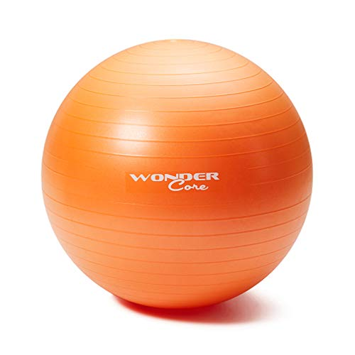 WONDER CORE WonderCore Exercise Ball for Gym Fitness Workouts and Physio Training Anti Burst Anti Slip with hand pump ORANGE Small 55cm Exercise Ball