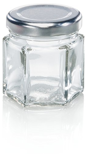 Bocal hexagonal Leifheit, 47 ml, bocal de stérilisation à six facettes, idéal pour les conserves, pot de rangement décoratif, pour stocker de petites choses, va au lave-vaisselle, Transparent/métal