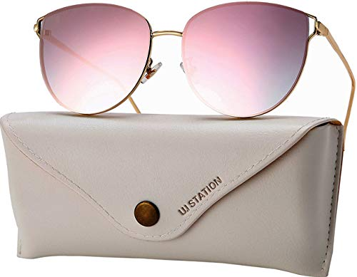 Mirrored Sunglasses for Women, Cat Eye Sunglasses, Rimless Sunglasses with Sunglasses Case...