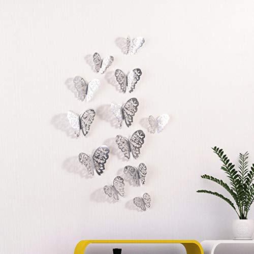 Decoración De Papel Partido 12 Unids/Set Pegatinas De Pared 3D Mariposa Hueca Para Habitaciones De Niños Decoración De Pared Del Hogar Diy Mariposas Pegatinas De Nevera Decoración De Habitación