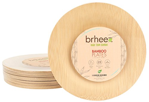 "Brheez 7"" Bamboo Veneer Disposable Eco-Friendly Plates - Elegant, Compostable and Biodegradable - Made from 100% Natural Bamboo - (Pack of 25)"