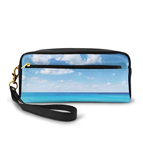 Pencil Case Pen Bag Pouch Stationary,Surreal Tropical Seascape with Dreamy Sea and Sky Paradise Coast Hawaiian Art,Small Makeup Bag Coin Purse