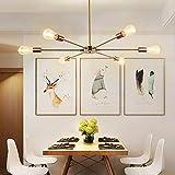Candelabro Sputnik genérico Lámpara colgante de 6 lámparas Lámpara de techo de metal vintage Lámpara colgante industrial para isla de cocina, comedor, sala de estar, barra de café, oro