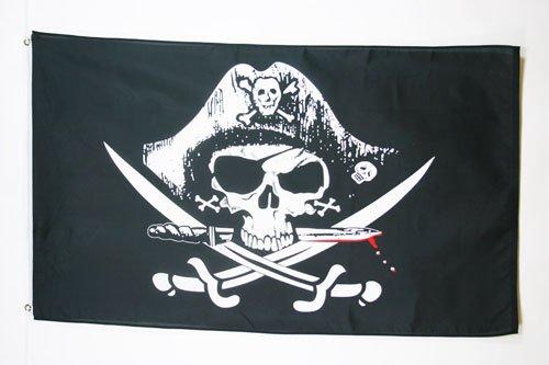 AZ FLAG Flagge Pirat MIT SÄBEL 90x60cm - Piraten Totenkopf Fahne 60 x 90 cm - flaggen Top Qualität