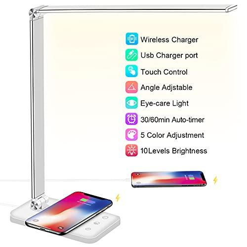 Schreibtischlampe LED mit 10W Wireless Charging, USB Ladeanschluss, BIENSER Bürolampe Tischlampe mit 10 Helligkeits X 5 Farbstufen, Augenschonende LED Dimmbar, Sensible Kontrolle, 30/60 min Auto Timer