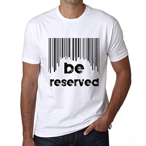 Hombre Camiseta Vintage T-Shirt Barcode Be Reserved Blanco
