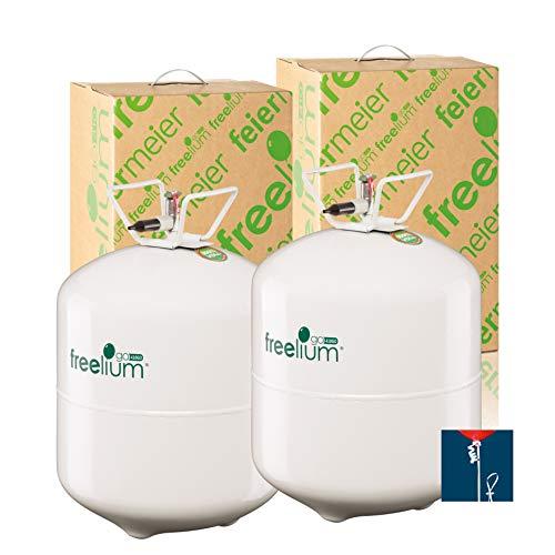 freelium® go 410 Helium Ballongas Doppelpack für Luftballons: 840 Liter in der leichten to Go Flasche 100x Ballonband mit Schnellverschluss gratis! Feiermeier EU Ware