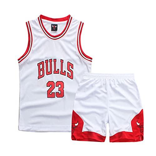 Bull Michael #23 Kinder Basketball Shirt und Shorts Jungen Mädchen Trikot Sportset Weiß-L