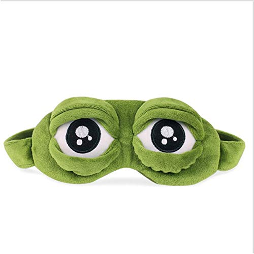 Appearantes Funny Pepe The Frog Sad Frog 3D Eye Mask Cover Cartoon Plush Sleeping Mask Green