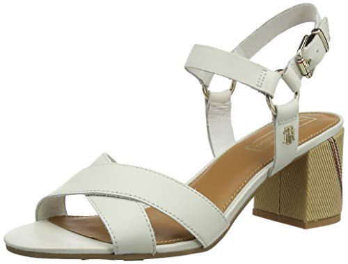 Tommy Hilfiger Damen ELEVATED LEATHER HEELED SANDAL Plateausandalen, Weiß (Whisper White 121), 38 EU