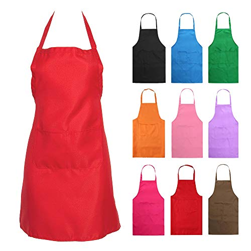 Nykkola Küchen-Schürze für Frauen/Mädchen, Kochen, Restaurant, Arbeit, Grillen, Garten, mit Taschen rot