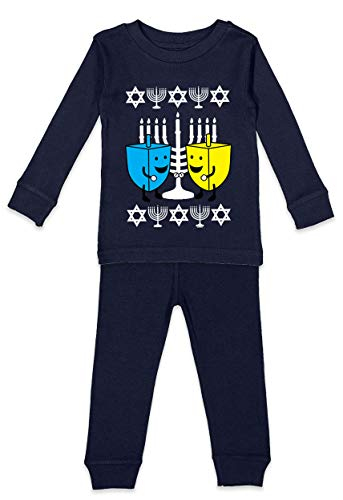 Happy Dreidels - Ugly Hanukkah Infant/Toddler Shirt & Pants Set (Navy Blue Top/Navy Blue Bottoms, 6 Months)