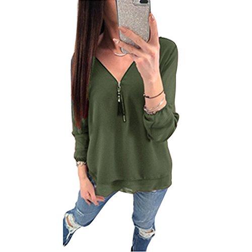 Juleya Damen Chiffon Bluse Cross Hemden Tops Frauen Oberteil Mit Reißverschluss Einfarbig V Ausschnitt Langarmshirt für Arbeit, Büro, Datierung