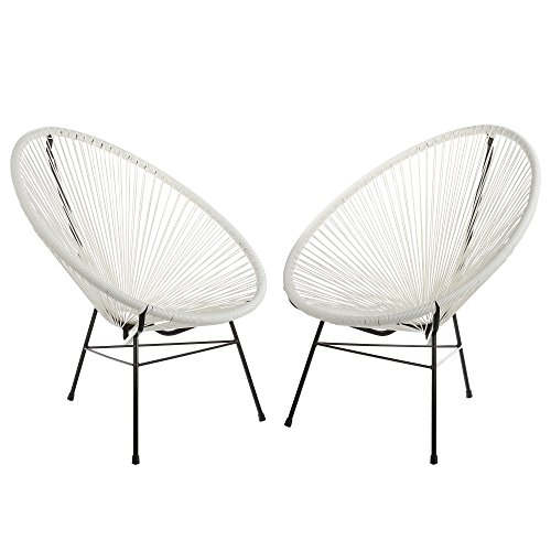 Acapulco Woven Basket Lounge Chair, Set of 2, White