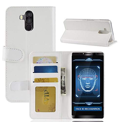 tinyue® Für Oukitel K6 Hülle, Ultradünne PU-Ledertasche Flip Wallet Cover, R64 strukturierte Business Style Ledertasche, Weiß