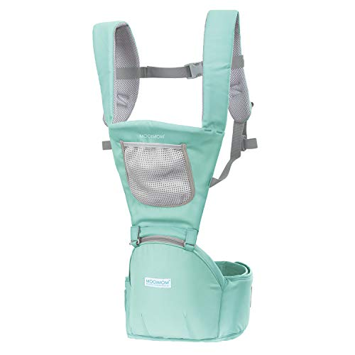 MOOIMOM Classic Soft Baby Carrier with Adjustable Shoulder Straps and Waistband for Comfort Ergonomic Baby Wrap for Newborn to Toddler Breathable Cooling Mesh Hip Seat Carrier Green