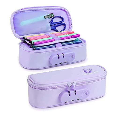 NGLSCXR Caja de lápices con cremallera, caja de lápices de alta capacidad, casos de lápiz de oficina de bloqueo, caja de lápices de tela, excelentes regalos para niños y niñas, para la oficina de secu