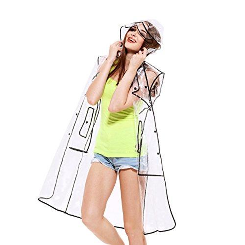BAO CORE Unisex Regenponcho, Liebhaber Regenjacke, Wasserdicht Regenmantel mit Kapuze, Umweltfreundlich transparenter Regencape aus Eva für Damen und Herren