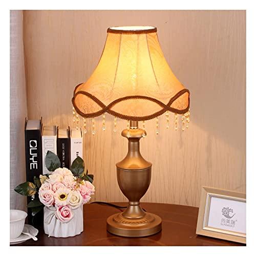YANSJD Lámpara de Mesa, mesita de Noche de Dormitorio de Campo Americano Lámpara de Tela Decorativa de Moda Lámpara de Mesa de Bronce Lámpara de Noche de Dormitorio (Color: A)