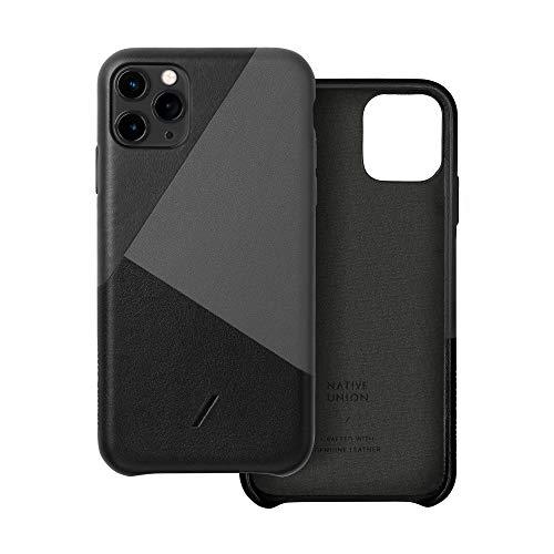 Native Union CLIC Marquetry Hülle für iPhone 11 Pro - Italienisches Nappaleder-Cover - Kompatibel mit iPhone 11 Pro (Schwarz)