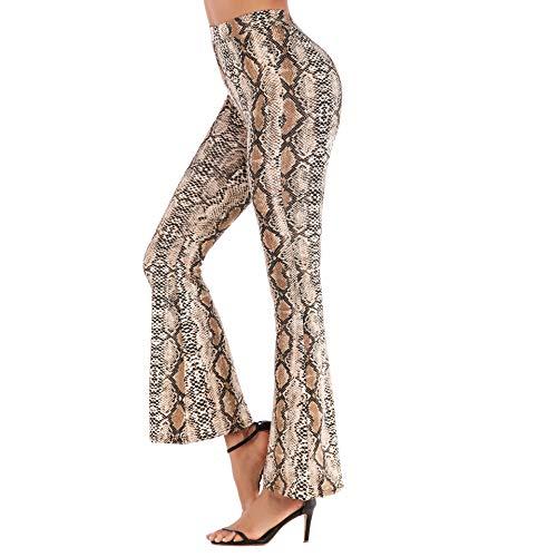 nobrand delle Donne 2020Molla Sottile Sottile Femmina di Leopardo I Pantaloni A Zampa D'Elefante Pantaloni A Vita Alta Gamba LargaSPelle di Serpente Beige