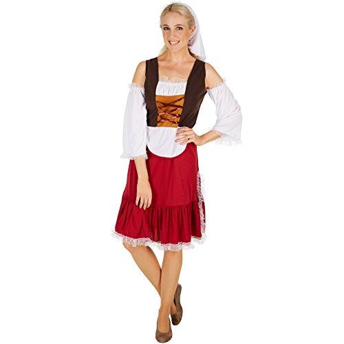 TecTake dressforfun Frauenkostüm Mittelalter Magd | Wundervolles, langes Kleid im Mittelalter-Stil | Unterteil mit angenähter Schürze | Inkl. schöner Kopfbedeckung (M | Nr. 301191)