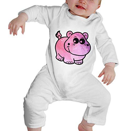 Moniery Pink Hippo Long Sleeve Romper Bodysuits for Baby Girl