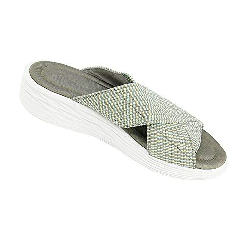 Sandali da Diapositiva ortesi incrociati elasticizzati da Donna Gradazione confortevole per Donne Indoor & Outdoor-Green_35