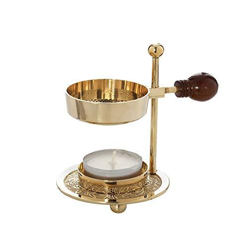 NKlaus Verstellbares Räucherstövchen Weihrauchbrenner Messing mit Holzgriff Gold Räuchergefäß klein 1522