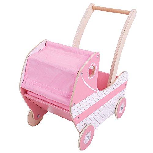 Bigjigs Toys Wooden Dolls Pram Buggy Stroller - Pretend Play