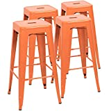Devoko Metal Bar Stool 30' Tolix Style Indoor/Outdoor Barstool Modern Industrial Backless Light Weight Bar Stools with Square Seat Set of 4 (Orange)