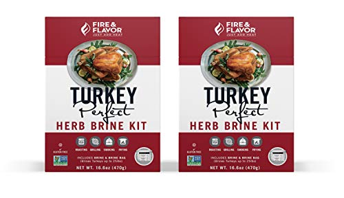 Fire & Flavor All Natural Turkey Perfect Herb Brine Kit, Perfect for Roasting, Grilling, Smoking, or Frying, 16.6 Ounces, Pack of 2