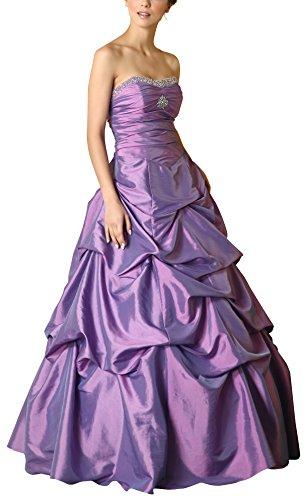 Romantic-Fashion Damen Ballkleid Abendkleid Brautkleid Lang Modell E465 A-Linie Perlen Pailletten DE Flieder Größe 34