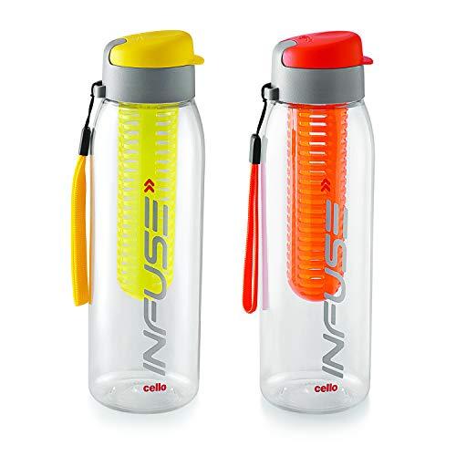 Cello Infuse Plastic Water Bottle Set, 800 ml, Set of 2, Yellow/Orange