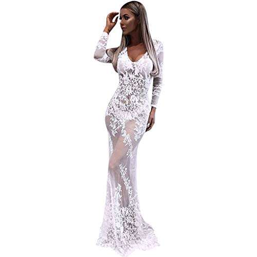 Women Lace Hollow Perspective Bodycon Mermaid Dress, Long Sleeve V-Neck Party Maxi...